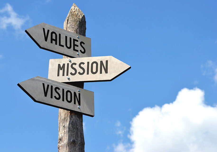 Values, mission, vision signpost